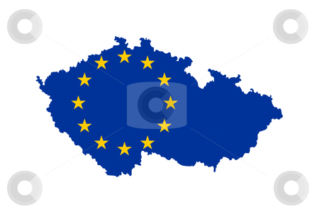 EU flag on map of Czech Republic stock photo, European flag on mag of Czech Republic; isolated on white background. by Martin Crowdy