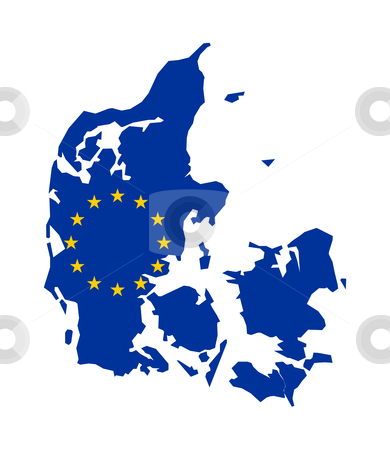 Eu flag on map of Denmark stock photo, European flag on mag of Albania; isolated on white background. by Martin Crowdy
