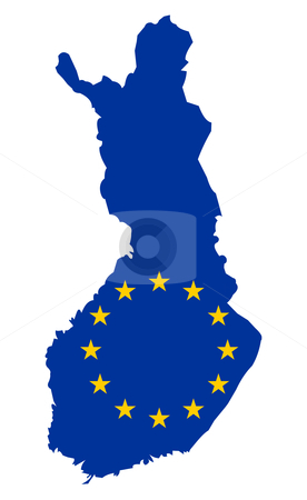 Eu flag on map of Finland stock photo, European flag on mag of Finland; isolated on white background. by Martin Crowdy
