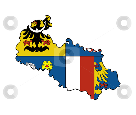 Moravia and Silesia state flag on map stock photo, Flag of Moravia and Silesia region of Czech Republic on map; isolated on white background. by Martin Crowdy