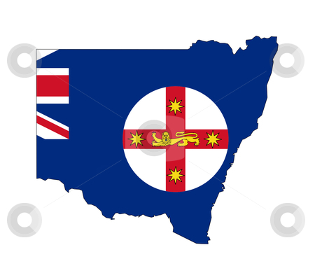 New South Wales Australia stock photo, State flag of New South Wales Australia on map; isolated on white background. by Martin Crowdy