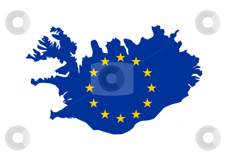 EU flag on map of Iceland stock photo, European flag on mag of Iceland; isolated on white background. by Martin Crowdy