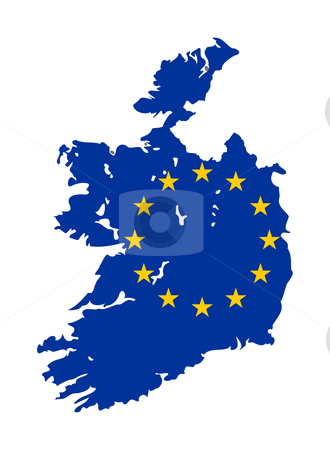 Eu Flag on map of Ireland stock photo, European flag on mag of Ireland; isolated on white background. by Martin Crowdy
