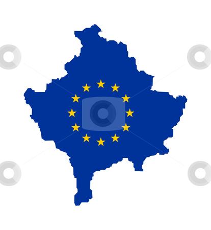 EU flag on map of Kosovo stock photo, European flag on mag of Kosovo; isolated on white background. by Martin Crowdy