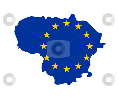 EU flag on map of Lithuania stock photo, European flag on mag of Lithuania; isolated on white background. by Martin Crowdy