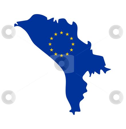 EU flag on map of Moldova stock photo, European flag on mag of Moldova; isolated on white background. by Martin Crowdy