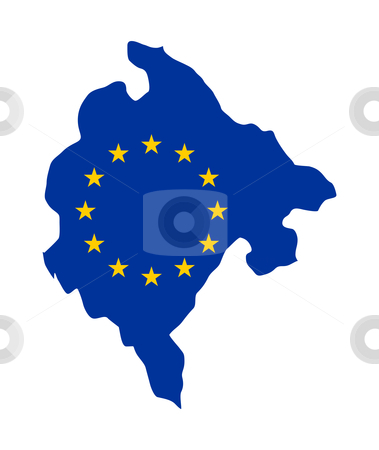 EU Flag on Montenegro map stock photo, European flag on mag of Montenegro; isolated on white background. by Martin Crowdy
