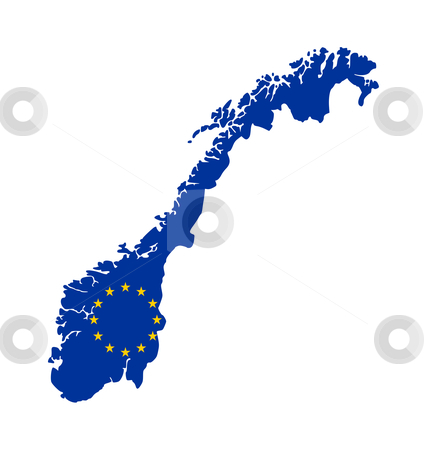 EU flag on map of Norway stock photo, European flag on mag of Norway; isolated on white background. by Martin Crowdy