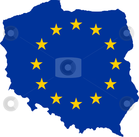 EU flag on map of Poland stock photo, European flag on mag of Poland; isolated on white background.  by Martin Crowdy