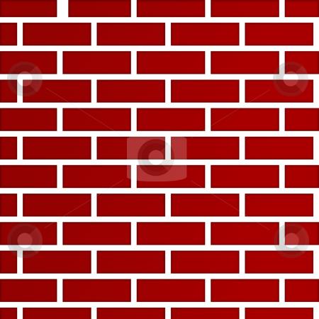 Dark red brick wall background stock photo, Abstract background of dark red bricks; isolated on white background. by Martin Crowdy