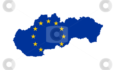 EU flag on map of Slovakia stock photo, European flag on mag of Slovakia; isolated on white background. by Martin Crowdy