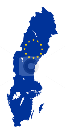 Sweden EU flag Map stock photo, European flag on mag of Sweden; isolated on white background. by Martin Crowdy