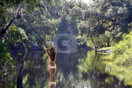 Beautiful Latina Wading in a Tropical River stock photo, A lovely Latina wearing a striking gold bikini stands in a shallow, tropical river with her back to the camera. by Carl Stewart