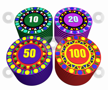 Casino chips stock photo, 3d illustration of casino chips by bobyramone