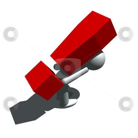 Difficult problem stock photo, 3d illustration of man figure and exclamation mark by bobyramone
