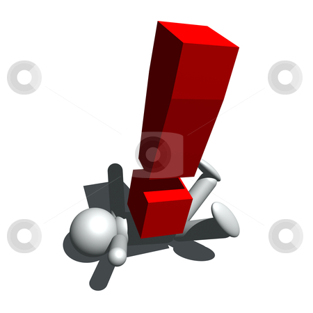 I have a problem stock photo, 3d illustration of man and exclamation mark by bobyramone