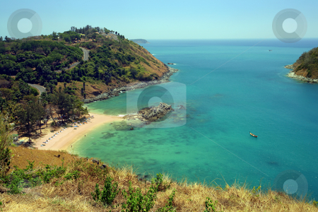 Beach of Phuket Thailand stock photo, An island oasis with secluded beach. Phuket, Thailand, three months after Tsunami. by &copy; Ron Sumners
