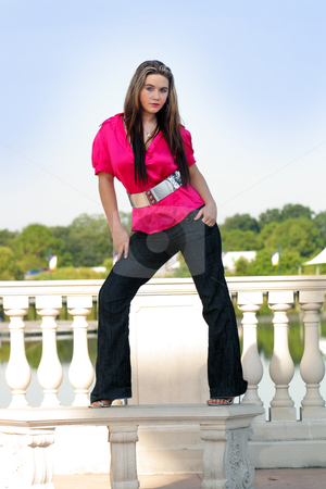 Beautiful Teen Girl Standing on an Outdoor Bench stock photo, A lovely teenage girl stands fashionably on an outdoor bench. by Carl Stewart
