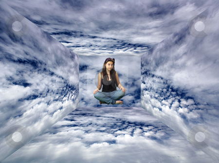 Teen Girl Sits Suspended the Clouds stock photo, A lovely teenage girl sits suspended in a surreal box of cloudy sky. by Carl Stewart
