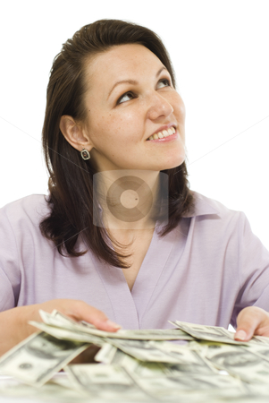 Young woman with the money  stock photo, young woman with the money on a white background by Alevtina Guzova