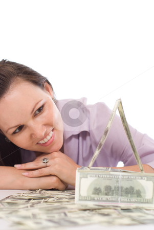 Woman with the money  stock photo, young woman with the money on a white by Alevtina Guzova