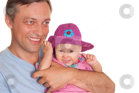 Father and his daughter  stock photo, Father and his daughter on a white by Alevtina Guzova
