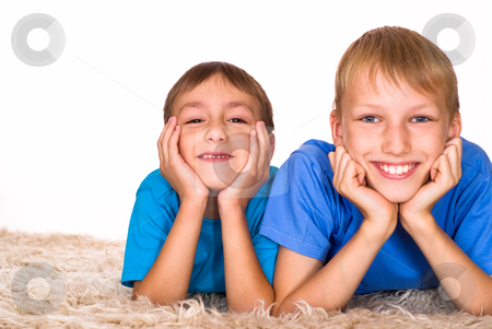 Nice brothers on a white stock photo, two nice brothers on a white background by Alevtina Guzova