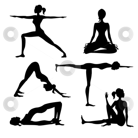 Yoga silhouette isolated  stock photo, Yoga silhouette isolated , vector illustration by kariiika