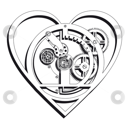 Mechanical Heart Outline stock photo, Mechanical Heart icon. by busja