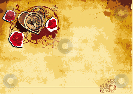 Mechanical Heart backround stock photo, Vintage paper background with vignette with mechanical heart and roses by busja