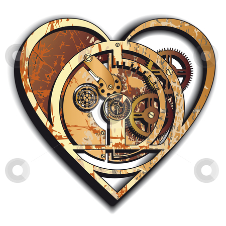Mechanical Heart stock photo, Mechanical Heart icon.  by busja