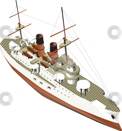 Ironclad stock photo, vectorial image of warship of beginning of XX age by busja