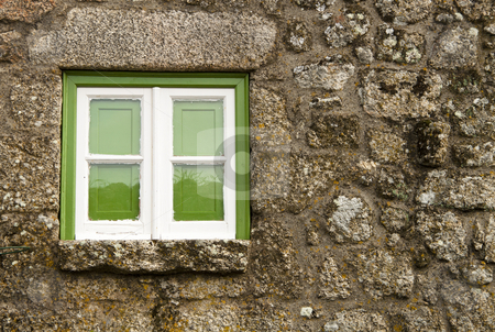 Green window stock photo, Green window of an old house, in Monsanto, Portugal by Neonn