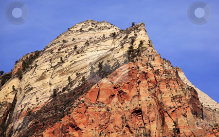 The Sentinel Tower of Virgins Zion Canyon National Park Utah stock photo, The Sentinel Tower of Virgins Zion Canyon National Park Utah Southwest by William Perry