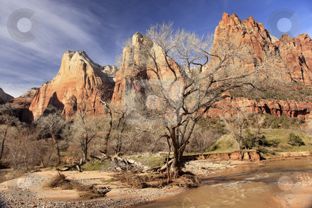 Court of Patricarchs Virgin River Zion Canyon National Park Utah stock photo, Red Rock Canyon Court of Patriarchs Virgin River Zion National Park Utah Southwest by William Perry