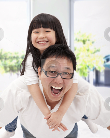 Happy asian family. father and little girl stock photo, happy asian family. father and little girl by tomwang