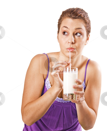 Beautiful young woman drinking a healthy glass of milk - on white background with space for text stock photo, Beautiful young woman drinking a healthy glass of milk - on white background with space for text by tish1
