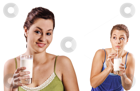 Beautiful young women drinking a healthy glass of milk - on white background with space for text stock photo, Beautiful young women drinking a healthy glass of milk - on white background with space for text by tish1