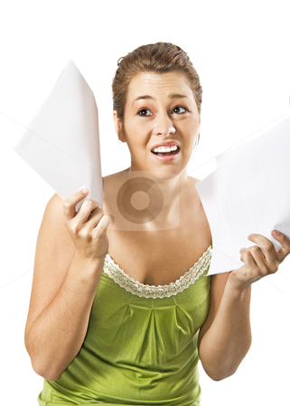 Beautiful young woman being discouraged by a overload of work - on a white background with space for text stock photo, Beautiful young woman being discouraged by a overload of work - on a white background with space for text by tish1