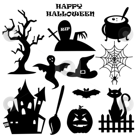 Collection of Halloween elements stock photo, Collection of Halloween elements, vector illustration  by kariiika
