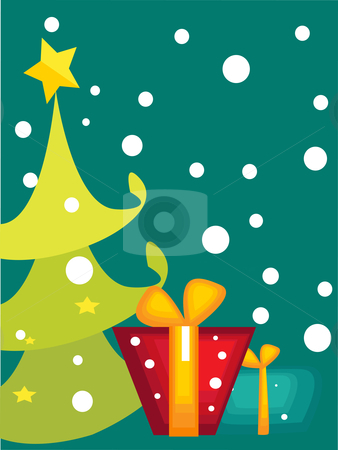 Cartoon Christmas tree card   stock photo, Cartoon Christmas tree card, vector illustration   by kariiika