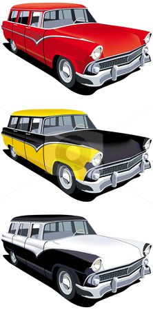 American retro station wagon stock photo, Vectorial icon set of American old-fashioned station wagons isolated on white backgrounds. Every cars is in separate layers. File contains gradients and blends. by busja