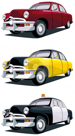 American vintage car stock photo, Vectorial icon set of old-fashioned American cars isolated on white backgrounds. Every car is in separate layers. No gradients and blends. by busja