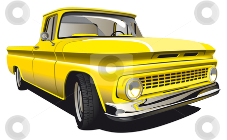 Yellow Pickup stock photo, Detailed vectorial image of Old-fashioned yellow Pickup isolated on white background by busja