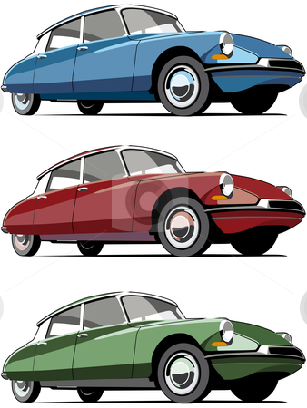 Old-fashioned French car stock photo, Vectorial icon set of old-fashioned French cars isolated on white backgrounds. Every car is in separate layers. No gradients and blends. by busja