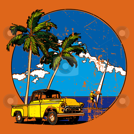 Hawaiian vignette stock photo, Vectorial round vignette with yellow old-fashioned pickup and two palms on sky and sea background. Image is one curve. No strokes, blends and gradients. by busja