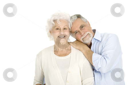 Portrait of a happy couple of elderly stock photo, portrait of a happy couple of elderly by ambrophoto
