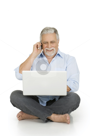Elderly man using laptop stock photo, elderly man using laptop by ambrophoto