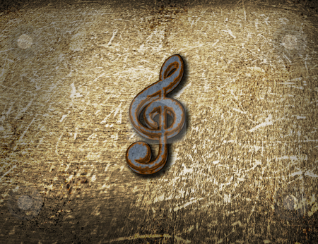 Rusty clef on grunge background stock photo, rusty clef on grunge background - 3d illustration by J?