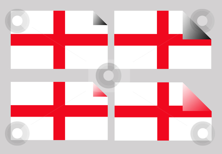 England flag labels or stickers stock photo, Set of England or English Cross of Saint George labels or stickers isolated. by Martin Crowdy